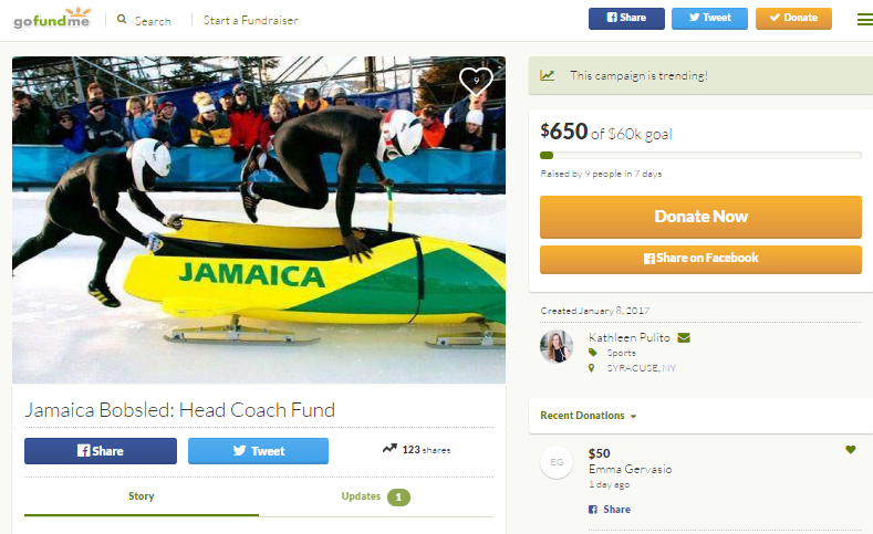 The Jamaican bobsleigh team have begun a campaign via crowdfunding site GoFundMe ©GoFundMe