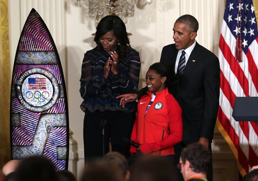 Barack Obama singled out Simone Biles and Michael Phelps during his final Presidential press conference ©Getty Images