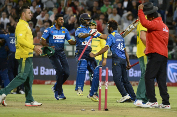 Sri Lanka's cricketers celebrate a Twenty20 win over South Africa this year. The competition format has proved exciting and attractive since being adopted in 2003, and Nitro Athletics aims to achieve a similar impact ©Getty Images