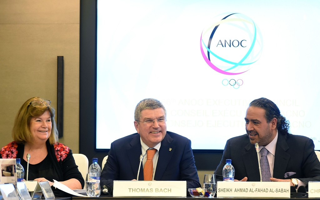Gunilla Lindberg (left), pictured in January alongside IOC President Thomas Bach and ANOC counterpart Sheikh Ahmad Al Fahad Al Sabah, announced the new details on the ANOC World Beach Games today ©Getty Images