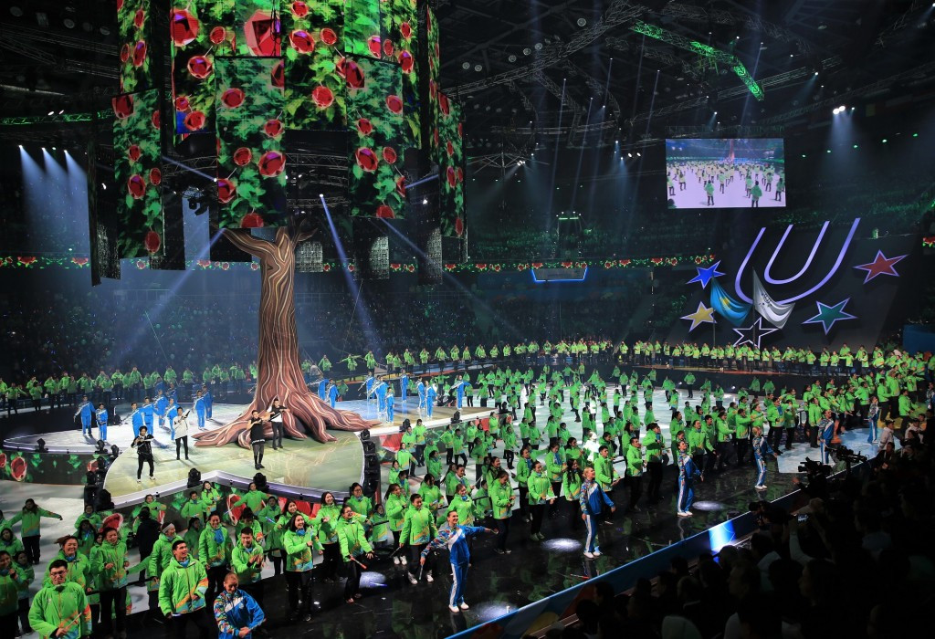 A section of the Closing Ceremony was dedicated to the efforts of the 2017 Winter Universiade's volunteers ©Almaty 2017