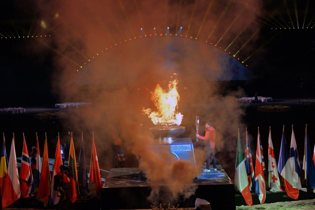 The European Youth Olympic Festival flame was lit at the end of today's Opening Ceremony ©Erzurum 2017/Twitter