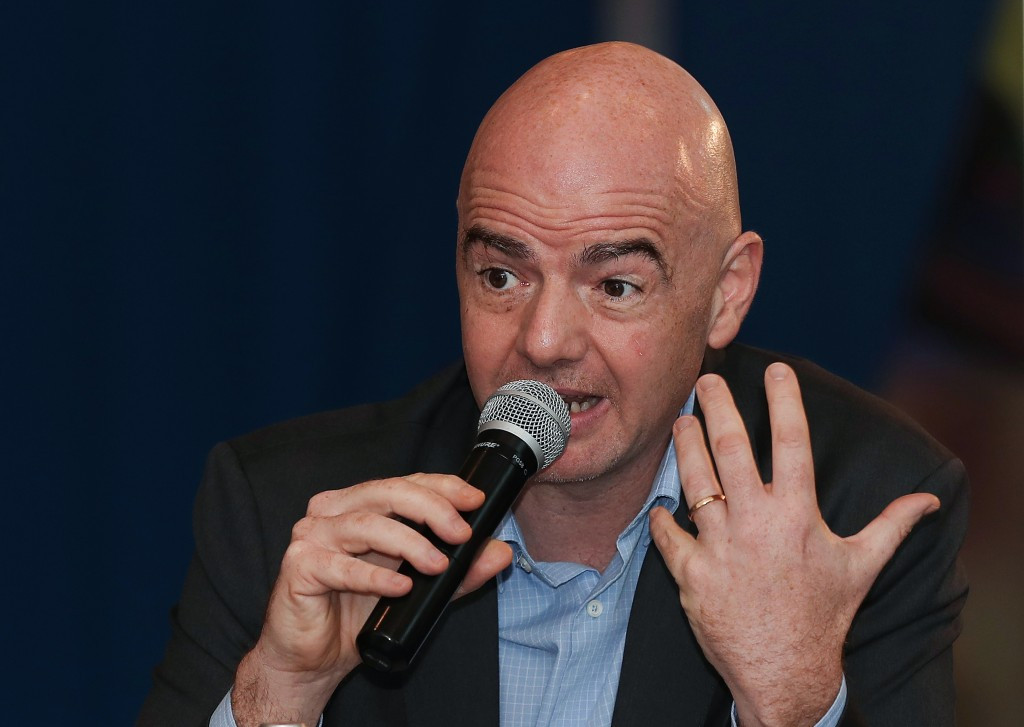 FIFA President Gianni Infantino has played down the concerns about the threat of hooliganism at next year's World Cup in Russia ©Getty Images
