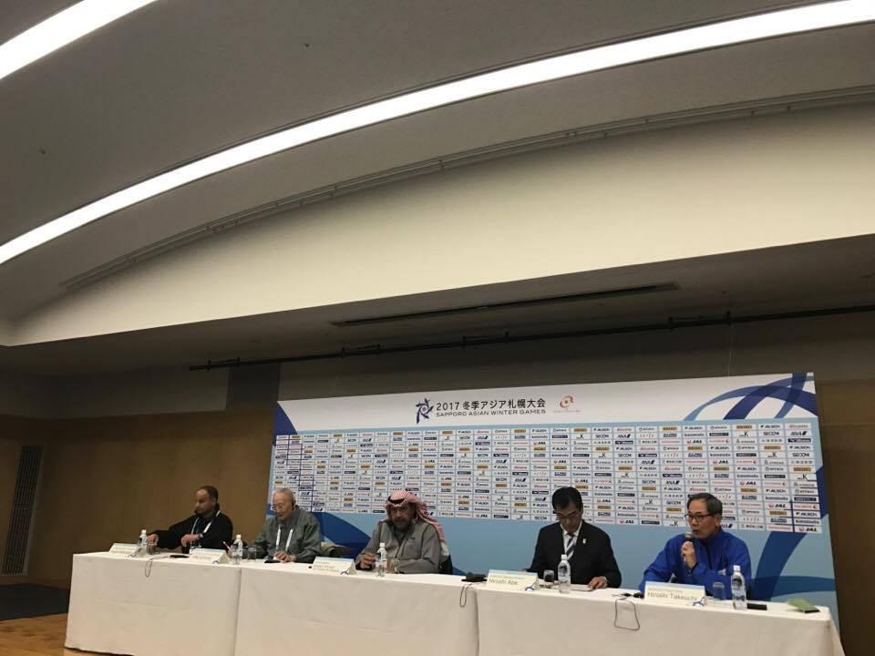 OCA President Sheikh Ahmad Al-Fahad Al-Sabah, third left, spoke enthusiastically about their Asian Games participation ©ITG