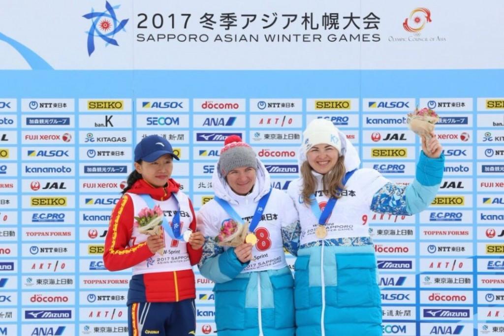 Galina Vishnevskaya, centre, won the women's 7.5km sprint event ©National Olympic Committee of Kazakhstan