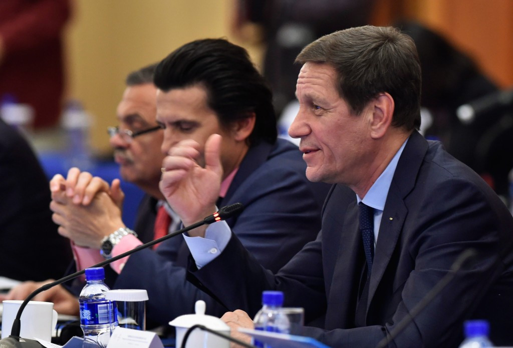 Alexander Zhukov, right, has predicted that RUSADA will regain its compliance in May, but this seems unlikely ©Getty Images