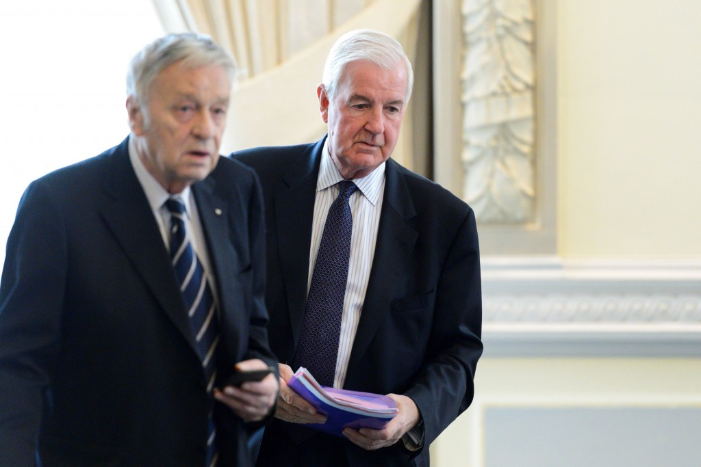 Gian-Franco Kasper, left, pictured with WADA President Sir Craig Reedie, who called for a Russian blanket suspension from Rio 2016 last year following the publication of the McLaren Report ©Getty Images
