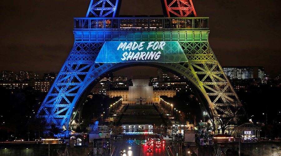 There was criticism in France after Paris 2024 launched its official bid slogan on the Eiffel Tower in English ©Getty Images