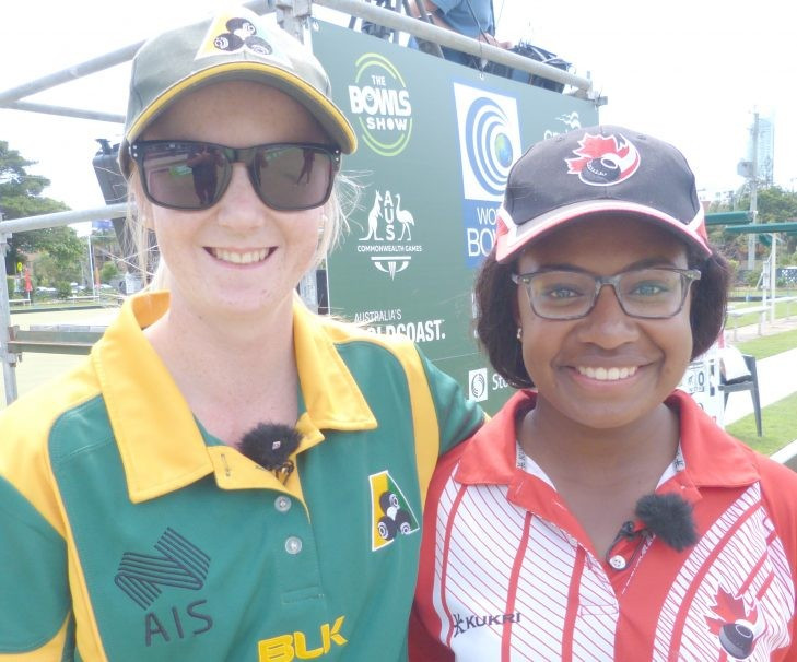 Canada's Pricilla Westlake, right, beat defending champion and home favourite Ellen Ryan, left, to secure the women's singles crown at the World Youth Bowls Championships ©World Bowls