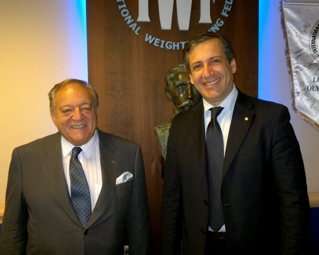 Tamás Aján, left, and Antonio Urso are two of three men alongside Nicu Vlad who are expected to challenge for the IWF President role ©IWF