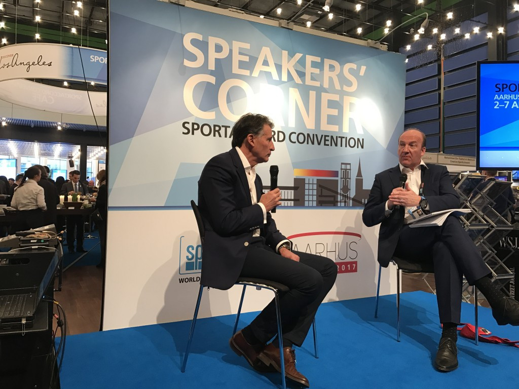 IAAF President Sebastian Coe, left, announced the appointment of New Zealand's David Howman as chair of the new Athletics Integrity Unit at the SportAccord Convention in Aarhus ©ITG