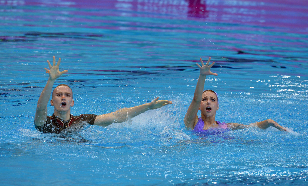 Russia's Mikhaela Kalancha and Aleksandr Maltsev pictured competing in the new mixed duet synchronised swimming event which could make its Olympic debut at Tokyo 2020 ©Getty Images