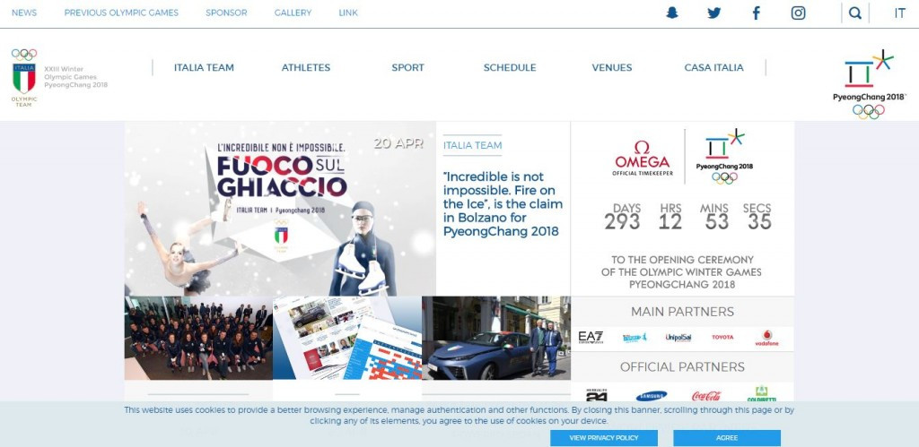 Website set up for Italian team for Pyeongchang 2018