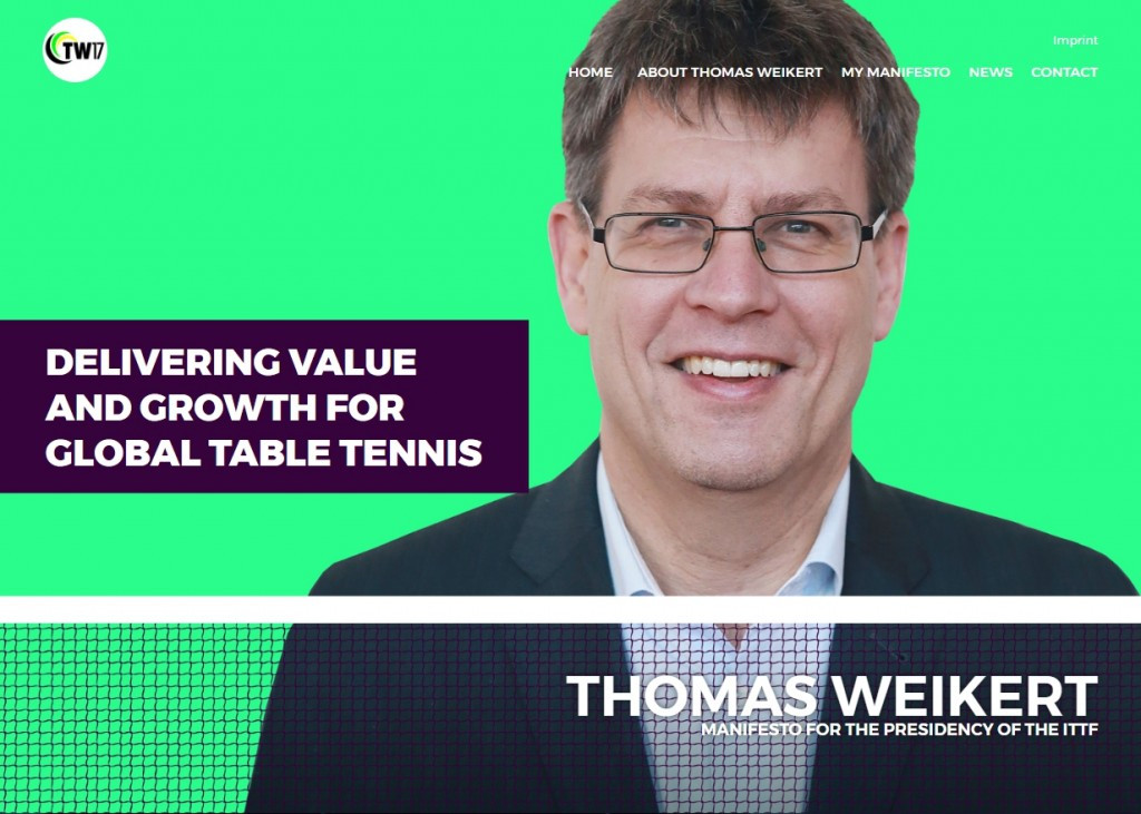 ITTF President Thomas Weikert has unveiled his new campaign website ©TW17