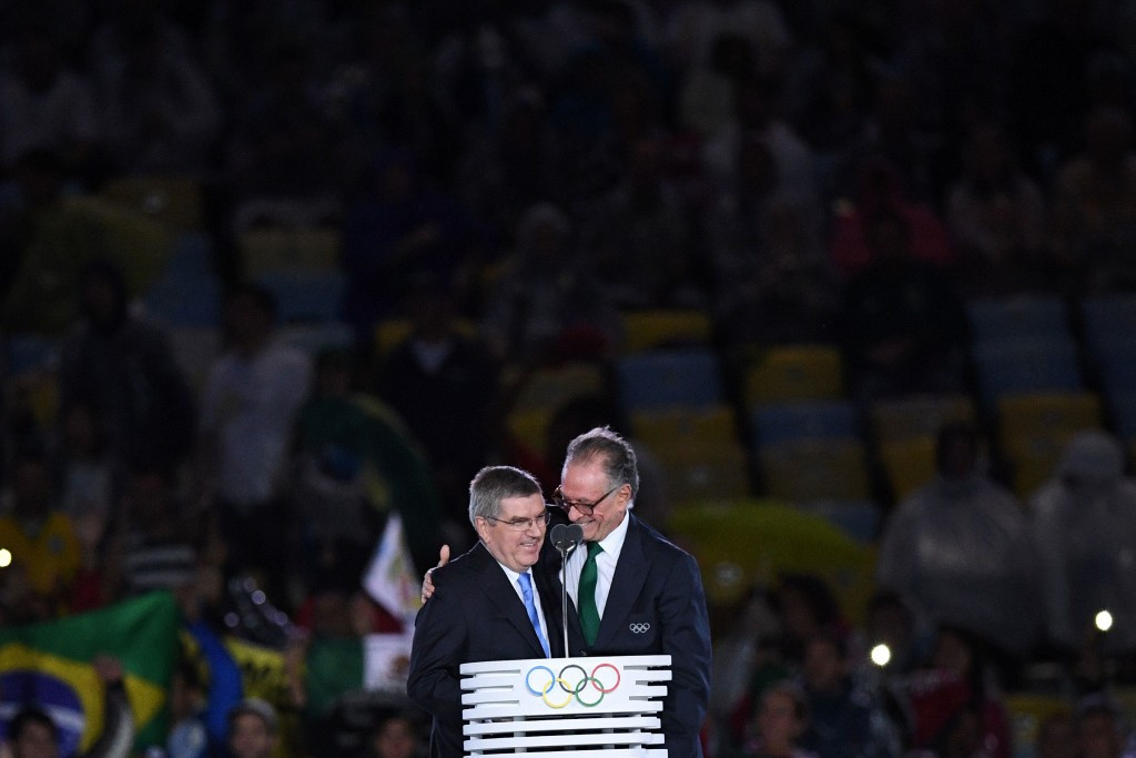 Thomas Bach, left, and Carlos Nuzman pictured together at the Closing Ceremony of Rio 2016 ©Getty Images