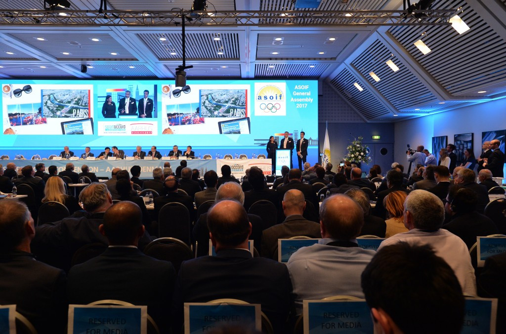 Bid cities, pictured campaigning at the ASOIF General Assembly earlier this month, are not allowed to attend the PASO General Assembly ©Getty Images