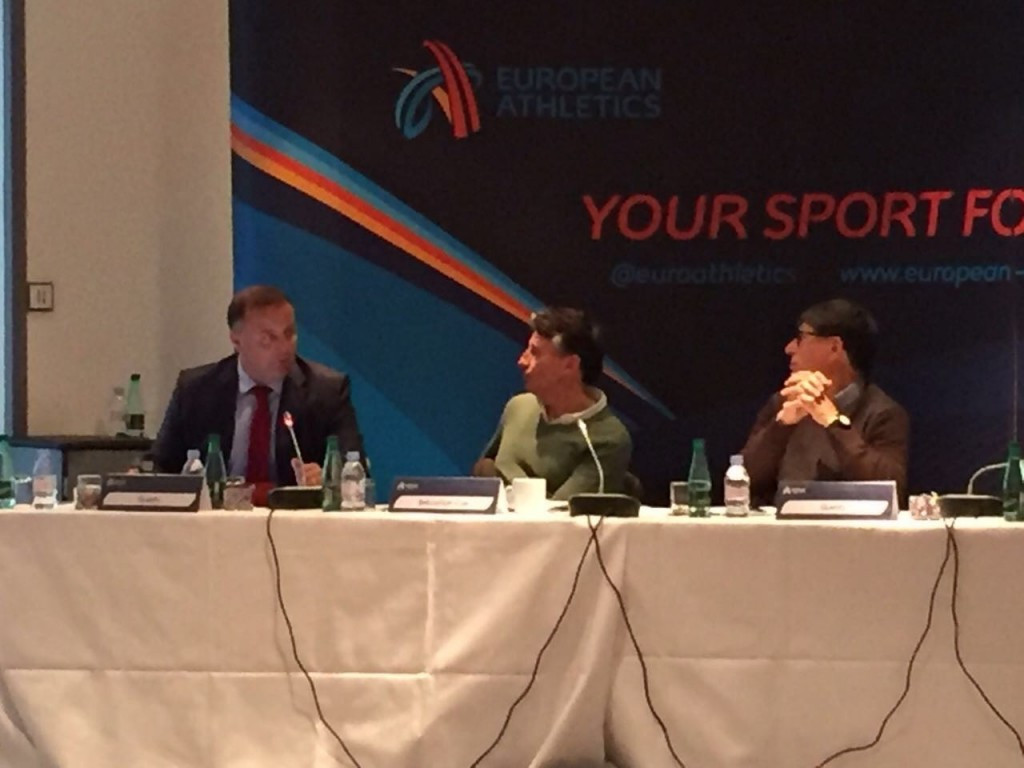 Pierce O'Callaghan, left, head of the European Athletics taskforce, made a series of recommendations about records at a meeting attended by Sebastian Coe, right, the IAAF President ©European Athletics