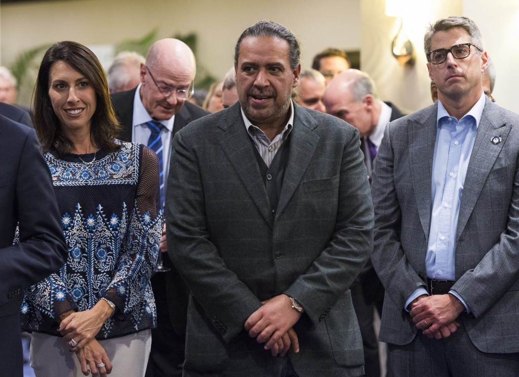 Casey Wasserman, right, with Sheikh Ahmad Al-Fahad Al-Sabah, centre, who has been identified in a United States Department of Justice document in connection with their corruption investigation at FIFA ©Getty Images