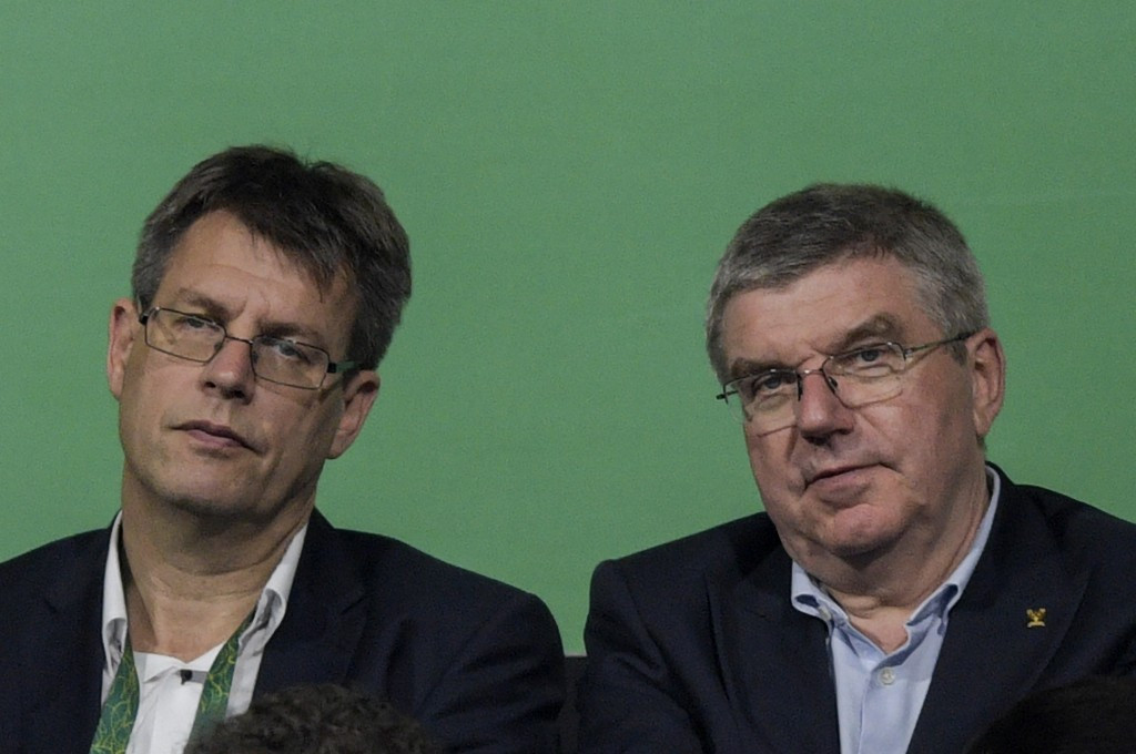 Thomas Weikert, pictured left with fellow German and IOC President Thomas Bach during Rio 2016, has served as ITTF head since 2014 ©Getty Images