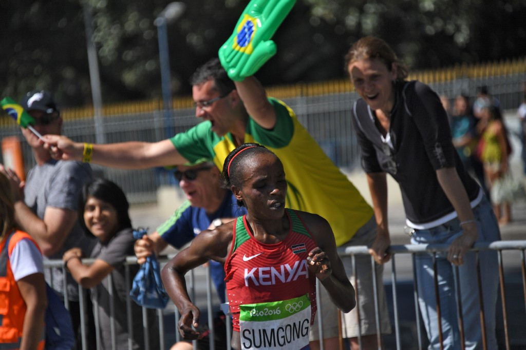 The positive drugs test for EPO of Kenya's Olympic marathon champion Jemima Sumgong means it is hard to believe that doping does not remain a major problem in athletics ©Getty Images