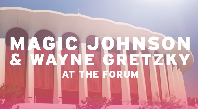 Magic Johnson and Wayne Gretzky have helped advertise Los Angeles 2024 venues ©Los Angeles 2024