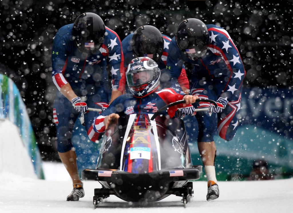 Steven Holcomb, piloting the United States to four-man Olympic gold at Vancouver 2010 ©Getty Images