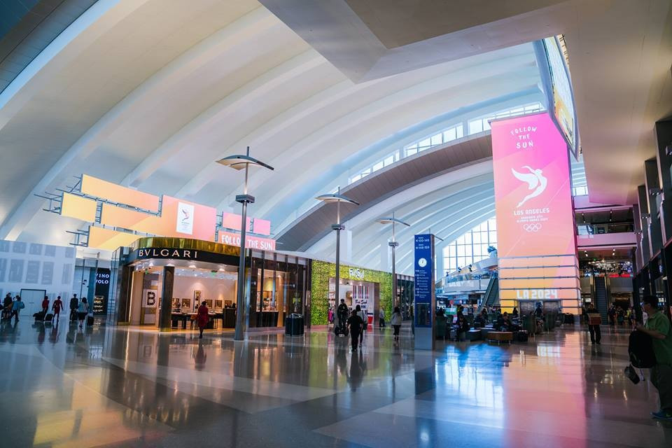 Los Angeles 2024 have been preparing for the visit of the International Olympic Committee Evaluation Commission chaired by Patrick Baumann by dressing the city, including the airport ©Los Angeles 2024