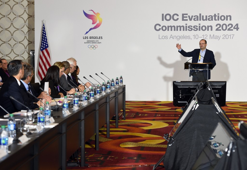 A full day of meetings were held between the IOC Evaluation Commission, led by chairman Patrick Baumann, and Los Angeles 2024 as the city's bid for the Olympic and Paralympic Games was inspected ©Getty Images