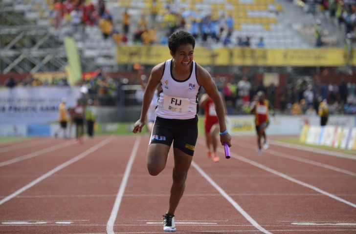 Younis Bese cannot hide her delight after securing women's 4x100m gold for Fiji
