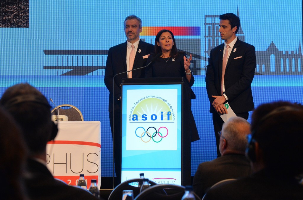 Paris 2024 chief executive Étienne Thobois, left, pictured with the city's Mayor Anne Hidalgo and co-bid leader Tony Estanguet during the SportAccord Convention in Aarhus ©Getty Images