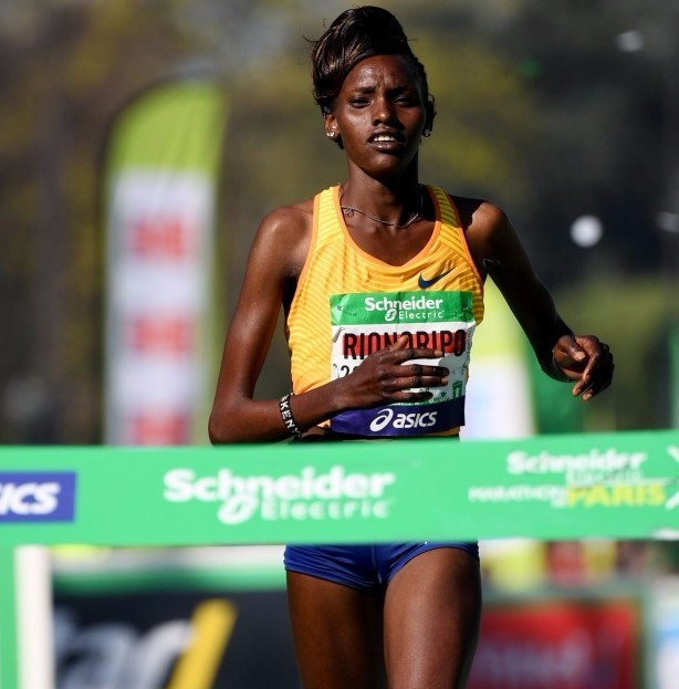 Paris Marathon champion Purity Rionoripo is among three Kenyan athletes suspended by her management company ©Getty Images