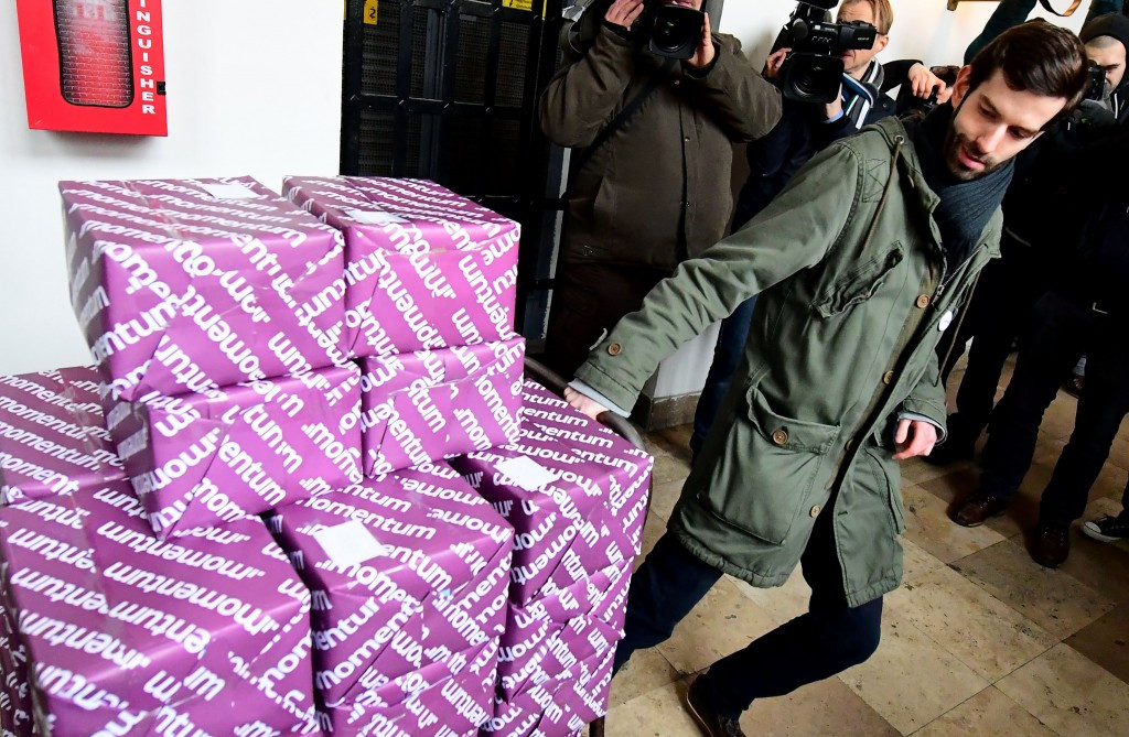 Boxes of petitions calling for a referendum on the Budapest 2024 bid, which was eventually scrapped ©Getty Images