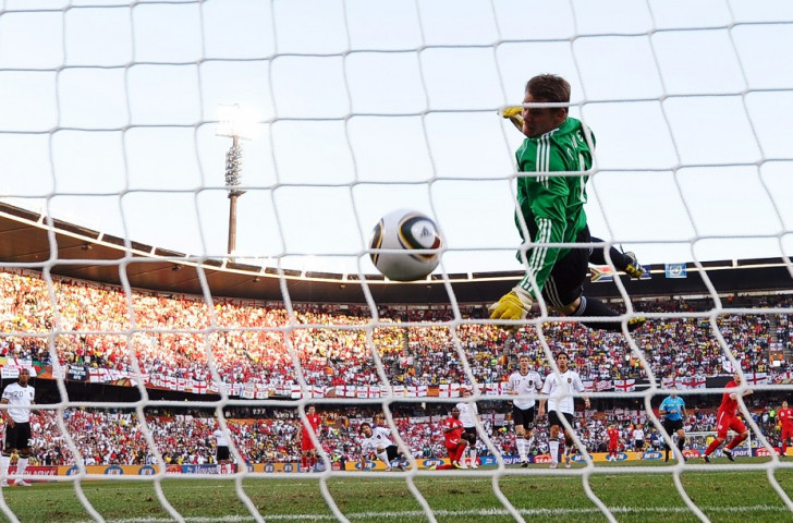 Germany's keeper Manuel Neuer watches Frank Lampard's shot for England land clearly behind the line at the 2010 World Cup finals but no goal was given ©Getty Images