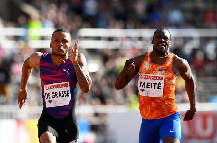 Andre De Grasse of Canada heads for 100m victory in 9.69sec in Stockholm - with a 4.8mps following wind ©Getty Images