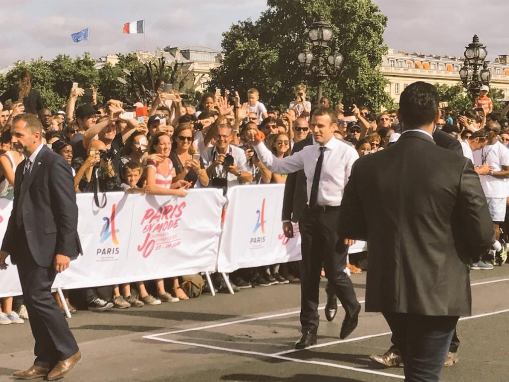 Emmanuel Macron celebrated Olympic Day in Paris ©Paris 2024