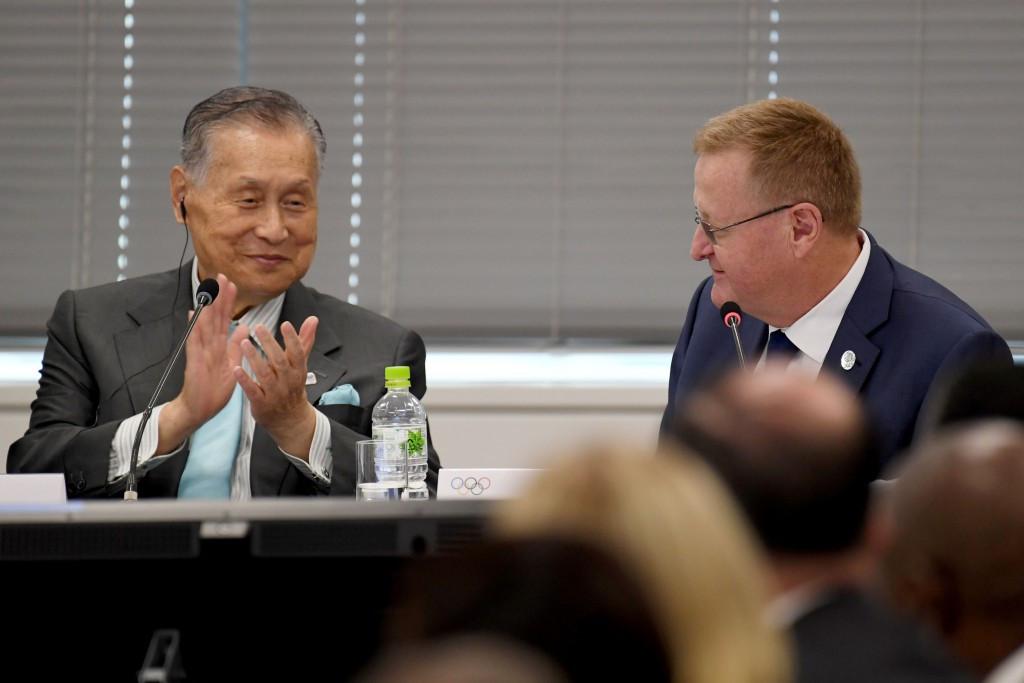 Tokyo 2020 President Yoshiro Mori congratulated John Coates on his re-election as the AOC President ©Getty Images