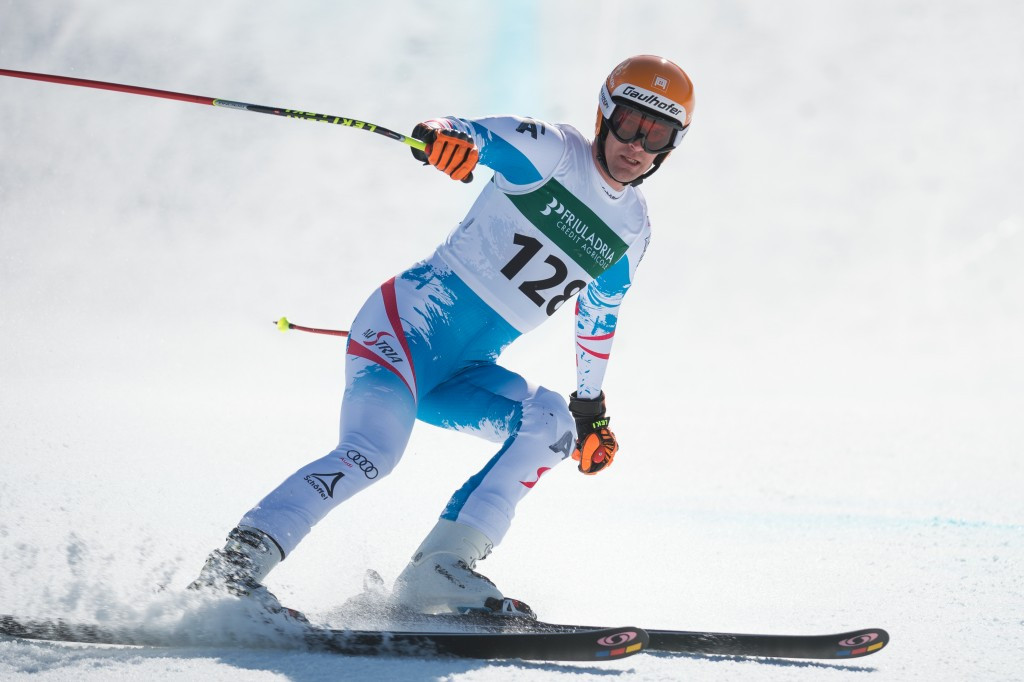 Austrian Paralympic Alpine Skier Matthias Lanzinger competes during the downhill race of the IPC Alpine Skiing World Cup Finals in 2014; ©Getty Images