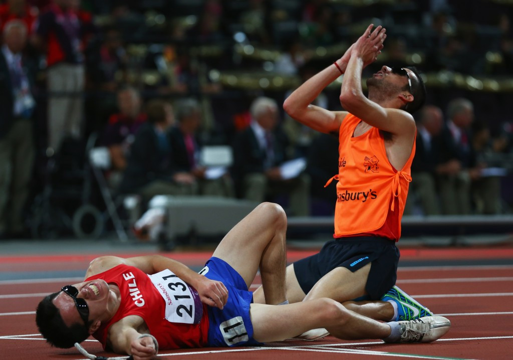 Christopher Guajardo (right) pictured after guiding Cristian Valenzuela to gold at the London 2012 Paralympic Games ©Getty Images