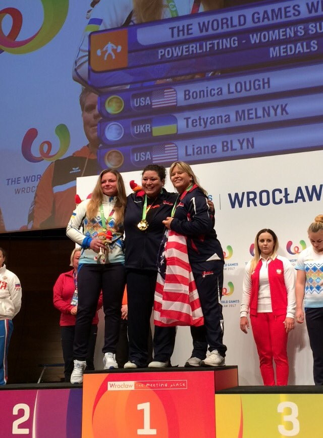 The United States sealed a first and third place finish in the women's super heavyweight powerlifting competition ©The World Games 2017