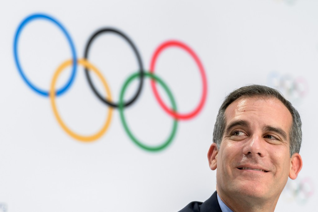 Los Angeles Mayor Eric Garcetti has stated they will reveal their intentions next week ©Getty Images