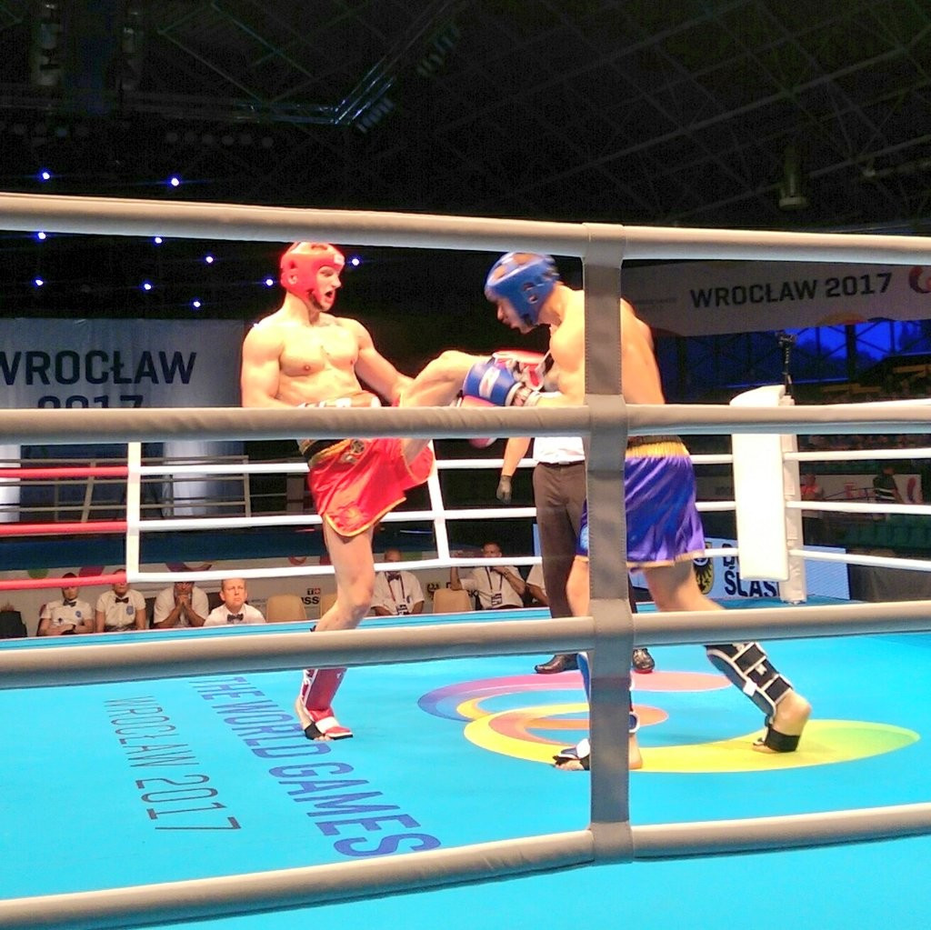 Poland were denied a third gold when Russia's Igor Darmeshkin, blue, defeated Mateusz Pluta, red, to win the 91kg title ©The World Games 2017