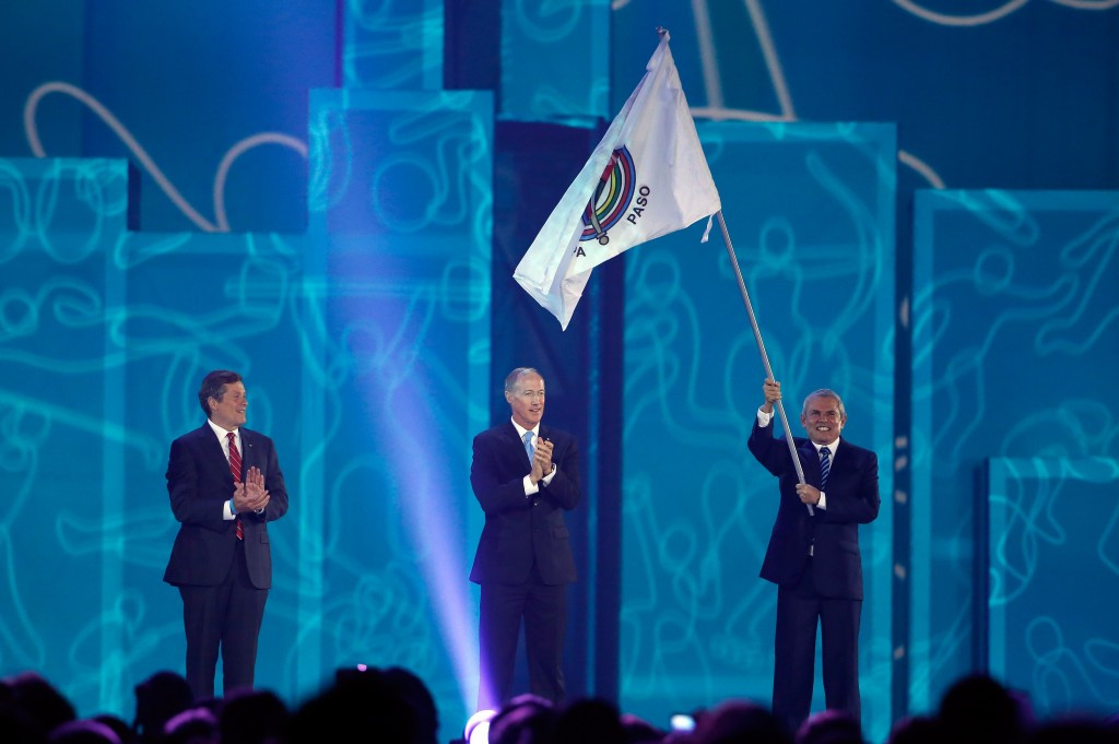 Ivar Sisniega oversaw the passing of the Pan American flag to Lima, but first commented on Toronto's Olympic ambitions