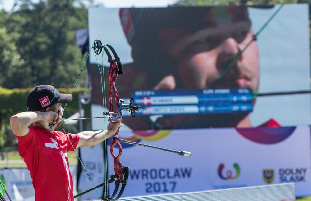 Stephan Hansen won both men's and mixed pairs archery gold today ©World Archery