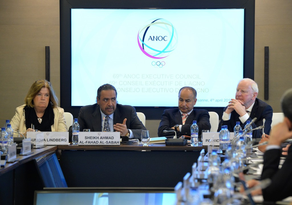 Husain Al-Musallam, second right, alongside Sheikh Ahmad at a meeting of the ANOC Executive Committee ©Getty Images