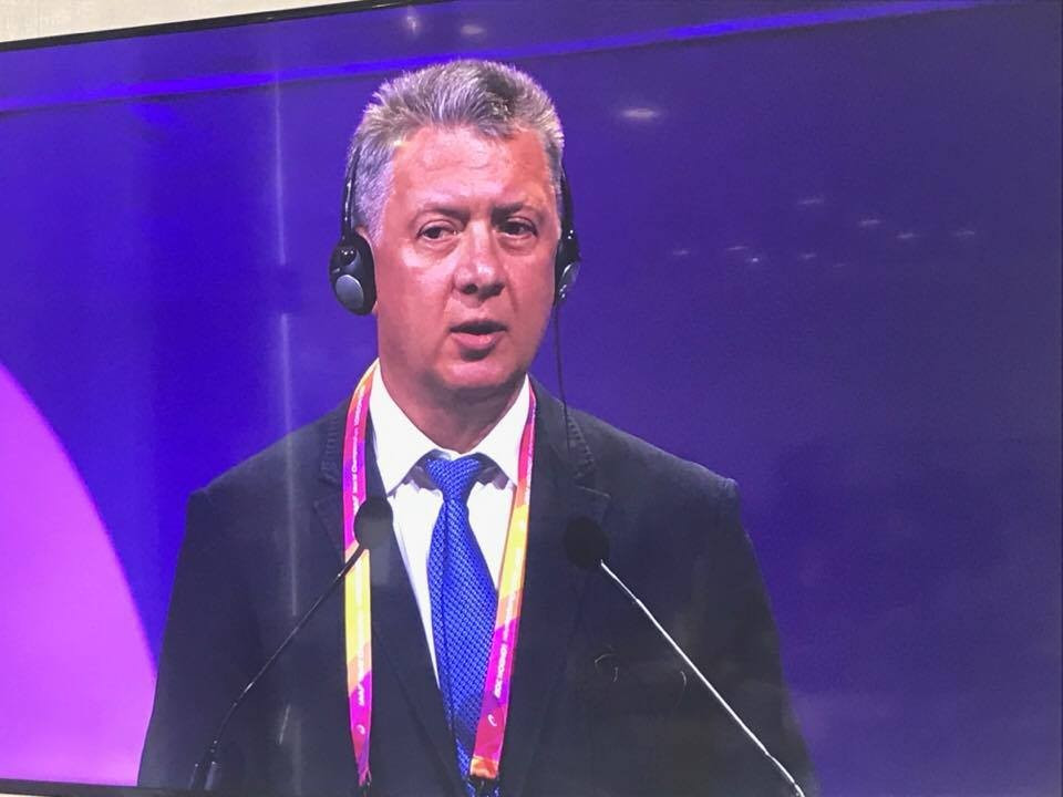 Russian Athletics Federation President Dmitry Shlyakhtin addressed the IAAF Congress but failed to persuade delegates to re-admit his country ©ITG