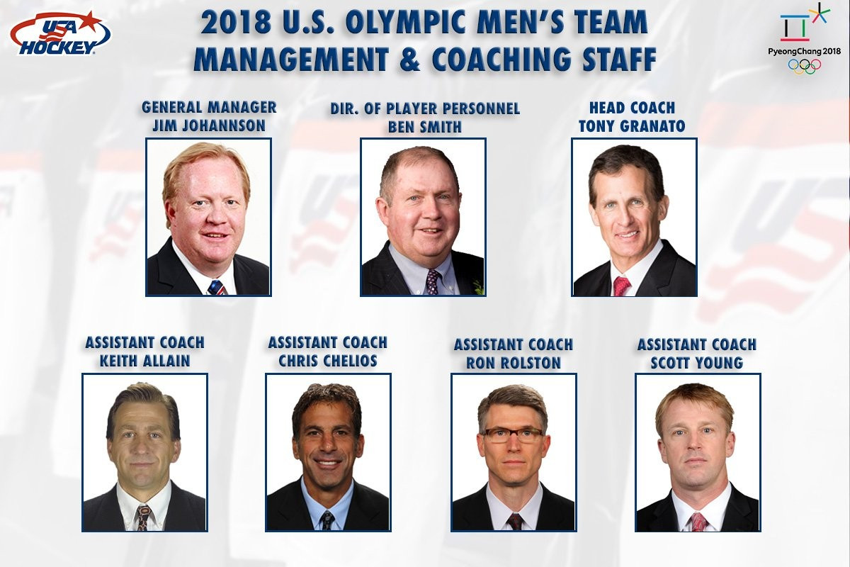USA Hockey today named the management and coaching staff for the US men's ice hockey team at the Pyeongchang 2018 Winter Olympic Games ©USA Hockey