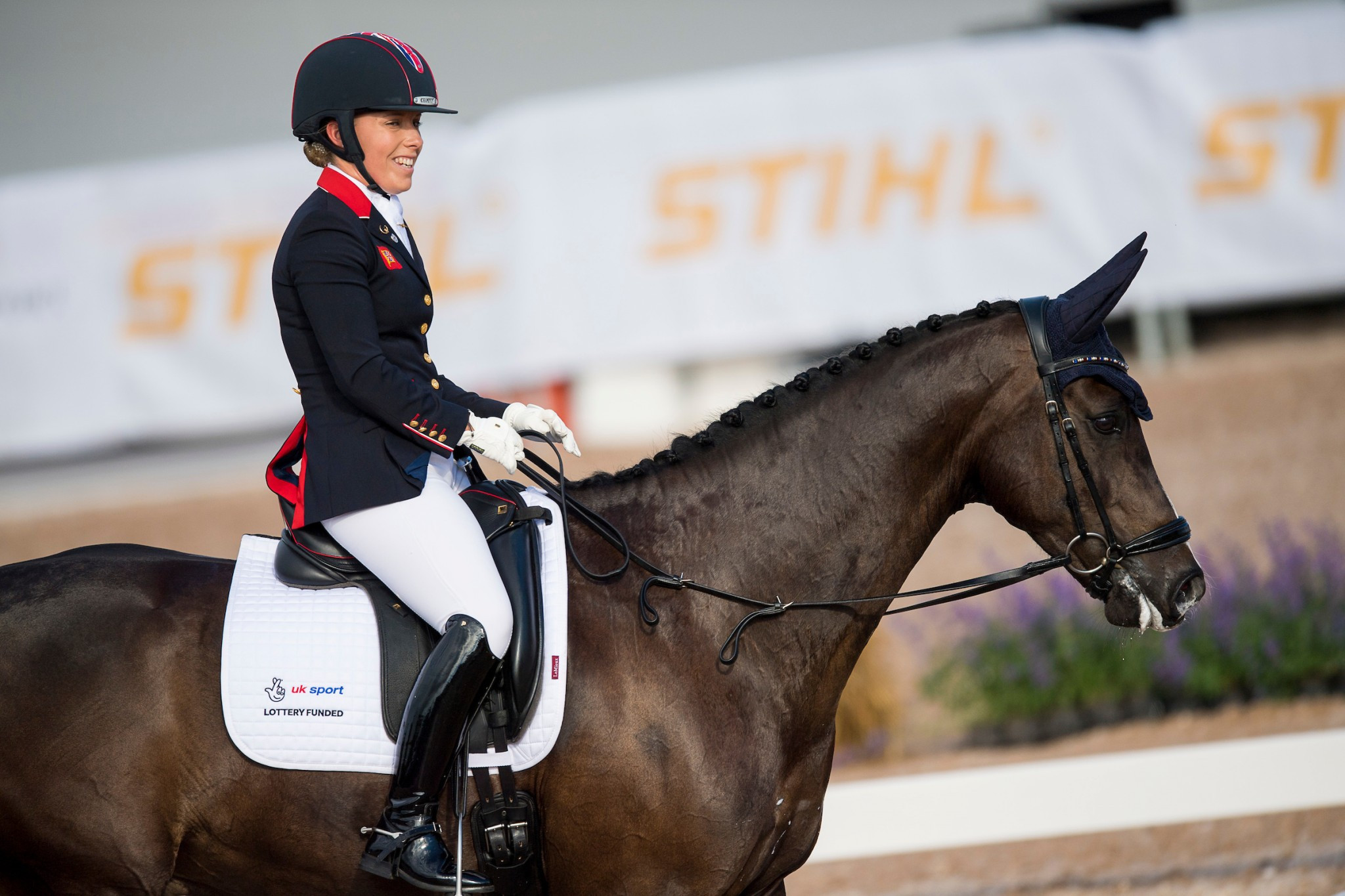 Sophie Wells looks pleased following her performance which helped Britain retain their team title ©British Equestrian Federation/Jon Stroud Media