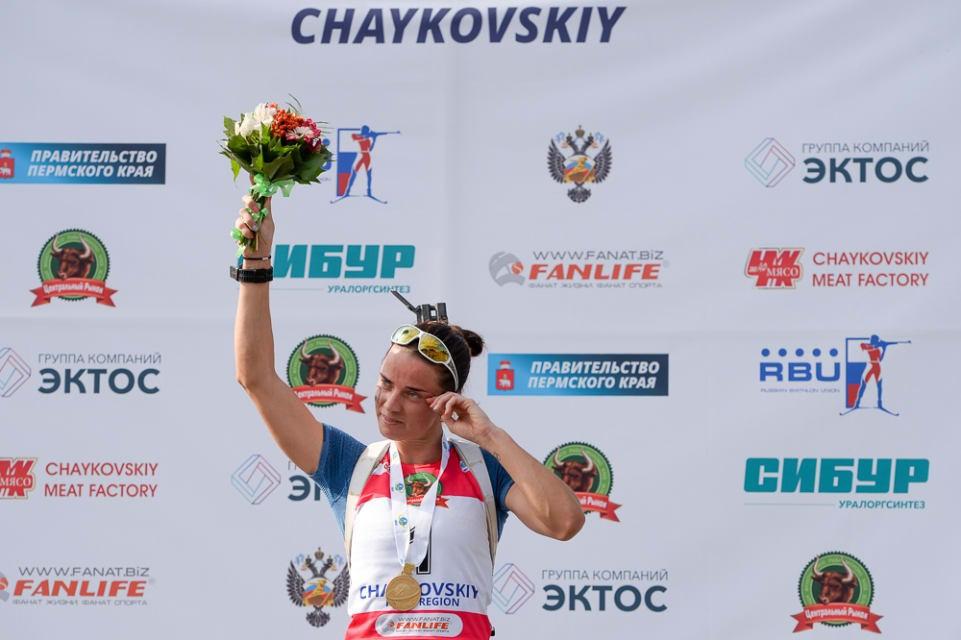Svetlana Sleptsova made it a hat-trick of gold medals ©IBU
