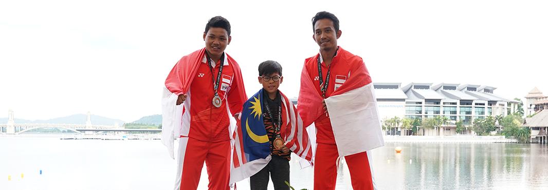 Nine-year-old Adam Yoong Hanifah won water skiing gold ©Kuala Lumpur 2017