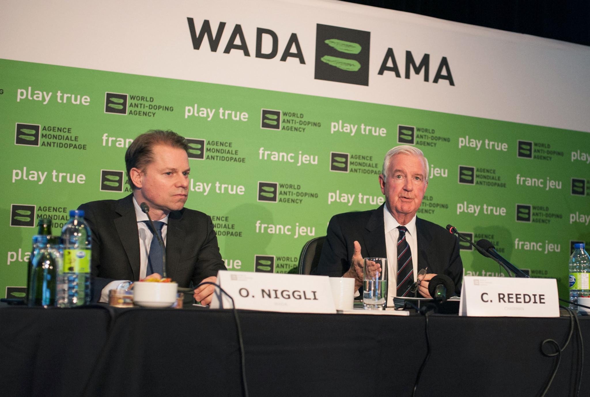 """Olivier Niggli, left, and Sir Craig Reedie, right, believe that WADA has been """"successful with their mission"""" ©Getty Images"""